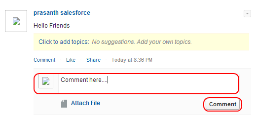Salesforce chatter commenting