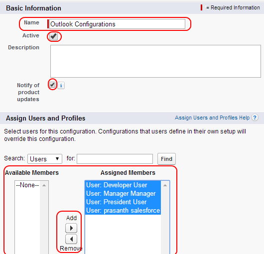 Visualforce Page Flow: Setting Outlook Configurations In Salesforce CRM