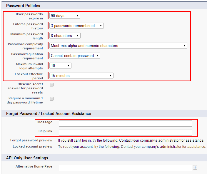 Salesforce login password policies